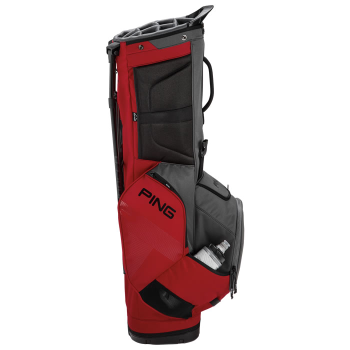 thumbnail of Red Graphite Hoofer 14 Carry Bag in upright position